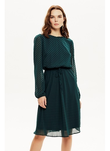 NaraMaxx Beli Lastikli Kloş Şifon Elbise Yeşil